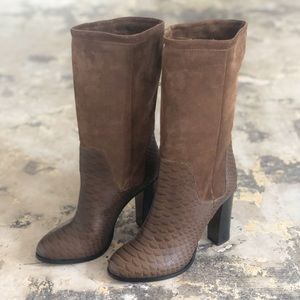 Vince Brown Dalton Mixed Media Suede Leather Boots